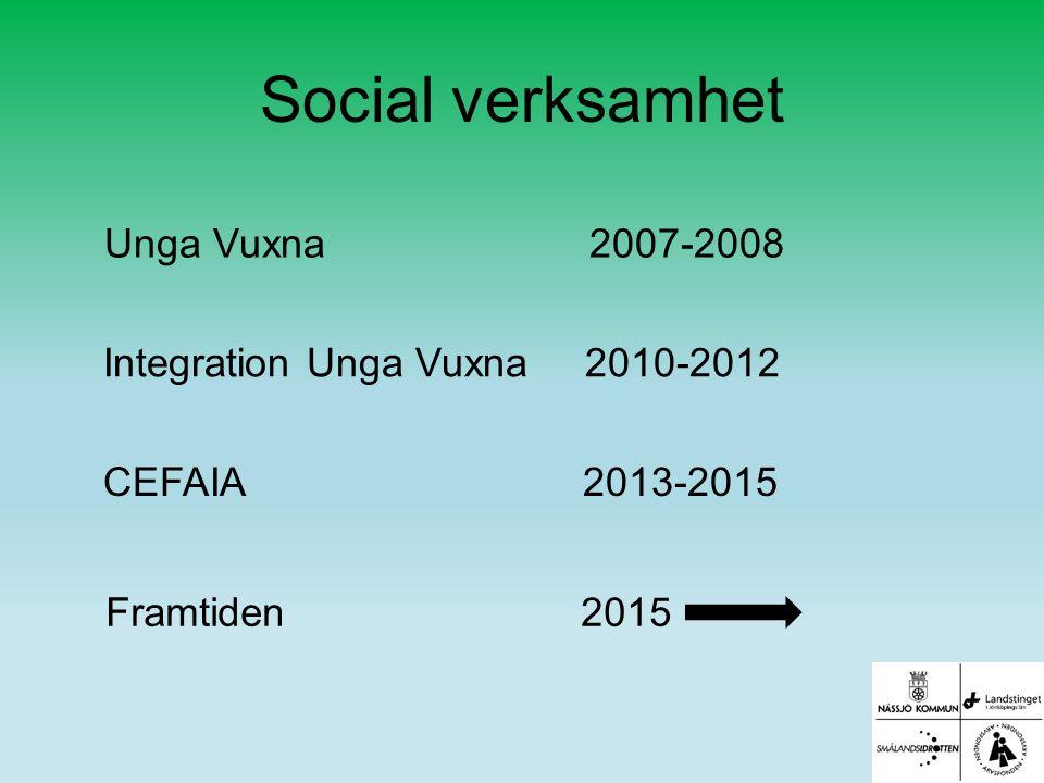 Social verksamhet Integration Unga Vuxna 2010-2012 CEFAIA 2013-2015 Framtiden 2015 Unga Vuxna 2007-2008