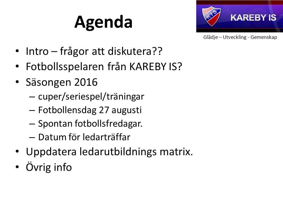 Glädje – Utveckling - Gemenskap Agenda Intro – frågor att diskutera?.