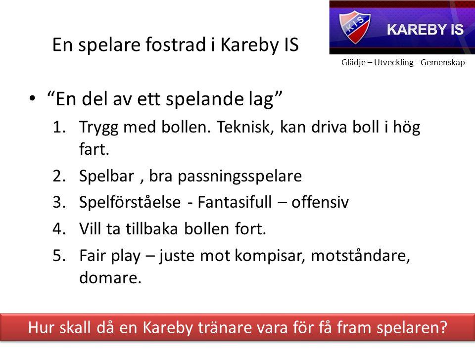 Glädje – Utveckling - Gemenskap En spelare fostrad i Kareby IS En del av ett spelande lag 1.Trygg med bollen.