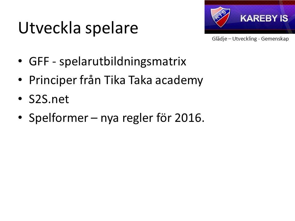Glädje – Utveckling - Gemenskap Utveckla spelare GFF - spelarutbildningsmatrix Principer från Tika Taka academy S2S.net Spelformer – nya regler för 2016.
