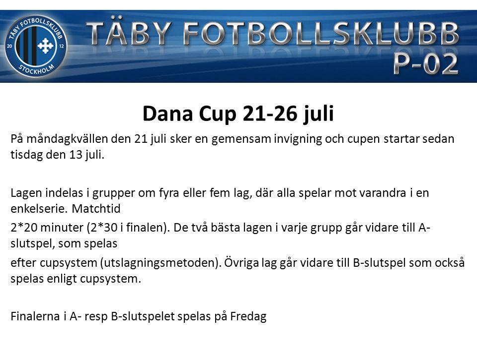 § Dana Cup 21-26 juli På måndagkvällen den 21 juli sker en gemensam invigning och cupen startar sedan tisdag den 13 juli.
