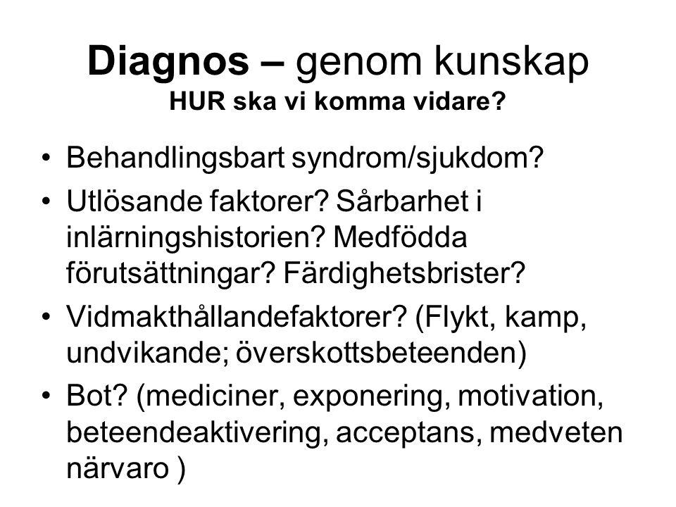 Diagnos – genom kunskap HUR ska vi komma vidare. Behandlingsbart syndrom/sjukdom.