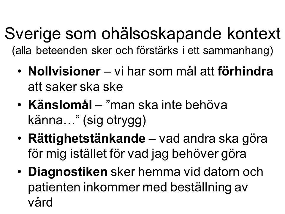 Sverige som ohälsoskapande kontext (alla beteenden sker och förstärks i ett sammanhang) Nollvisioner – vi har som mål att förhindra att saker ska ske Känslomål – man ska inte behöva känna… (sig otrygg) Rättighetstänkande – vad andra ska göra för mig istället för vad jag behöver göra Diagnostiken sker hemma vid datorn och patienten inkommer med beställning av vård