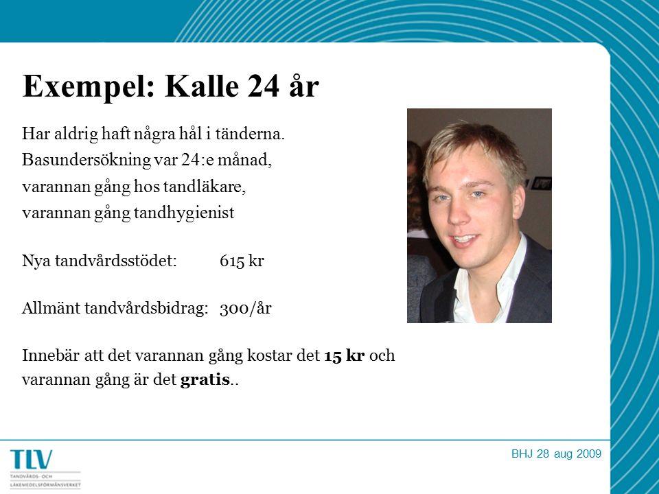 Exempel: Kalle 24 år Har aldrig haft några hål i tänderna.