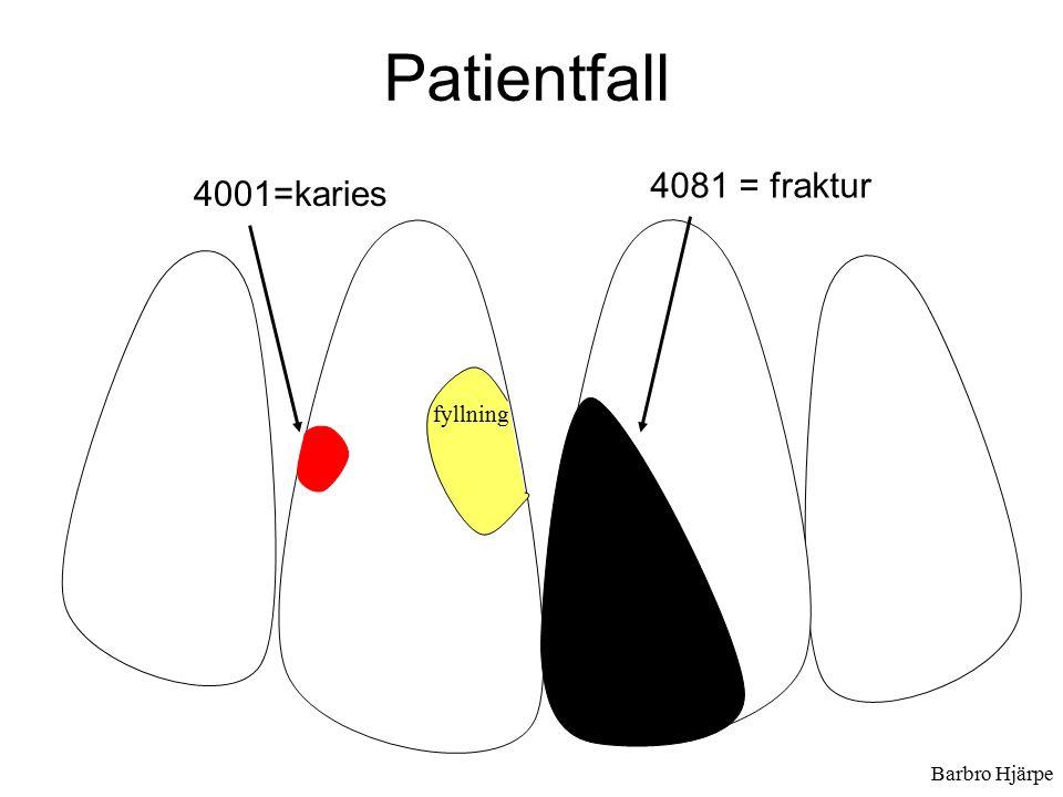 Barbro Hjärpe Patientfall fyllning 4081 = fraktur 4001=karies