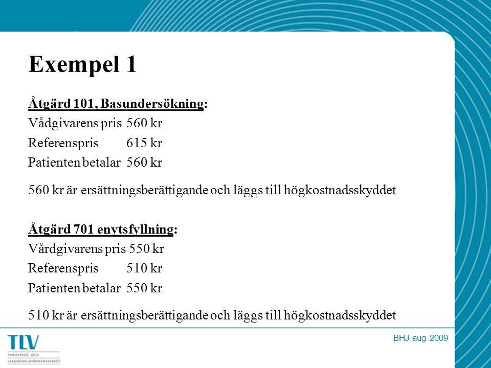 Exempel 1 Åtgärd 101, Basundersökning: Vådgivarens pris 560 kr Referenspris 615 kr Patienten betalar 560 kr 560 kr är ersättningsberättigande och lägg