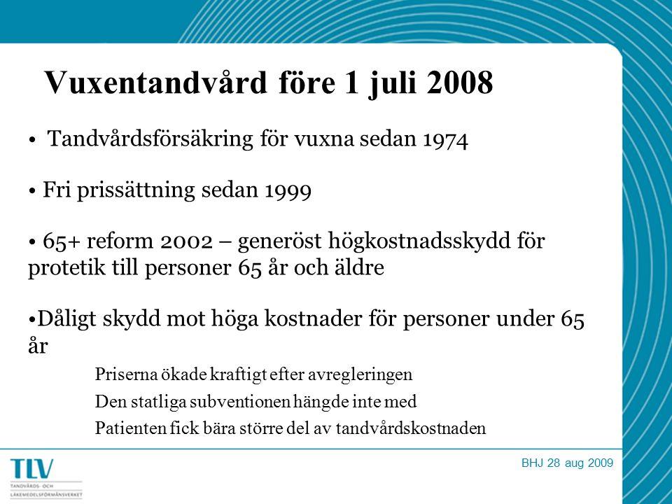 Vuxentandvård före 1 juli 2008 Tandvårdsförsäkring för vuxna sedan 1974 Fri prissättning sedan 1999 65+ reform 2002 – generöst högkostnadsskydd för pr