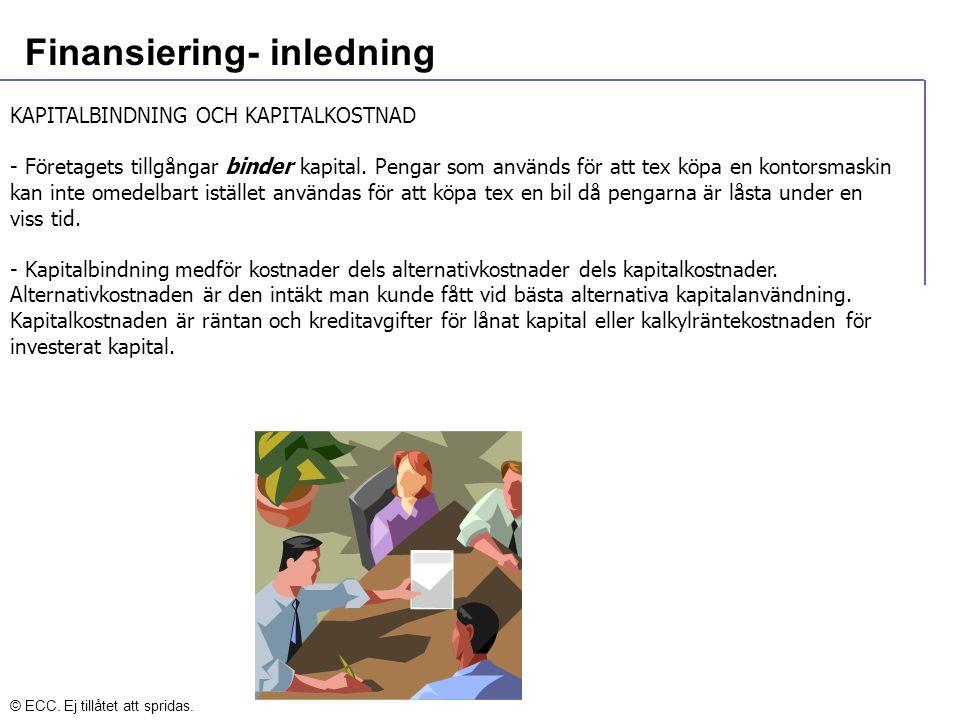 Finansiering- inledning KAPITALBINDNING OCH KAPITALKOSTNAD - Företagets tillgångar binder kapital.