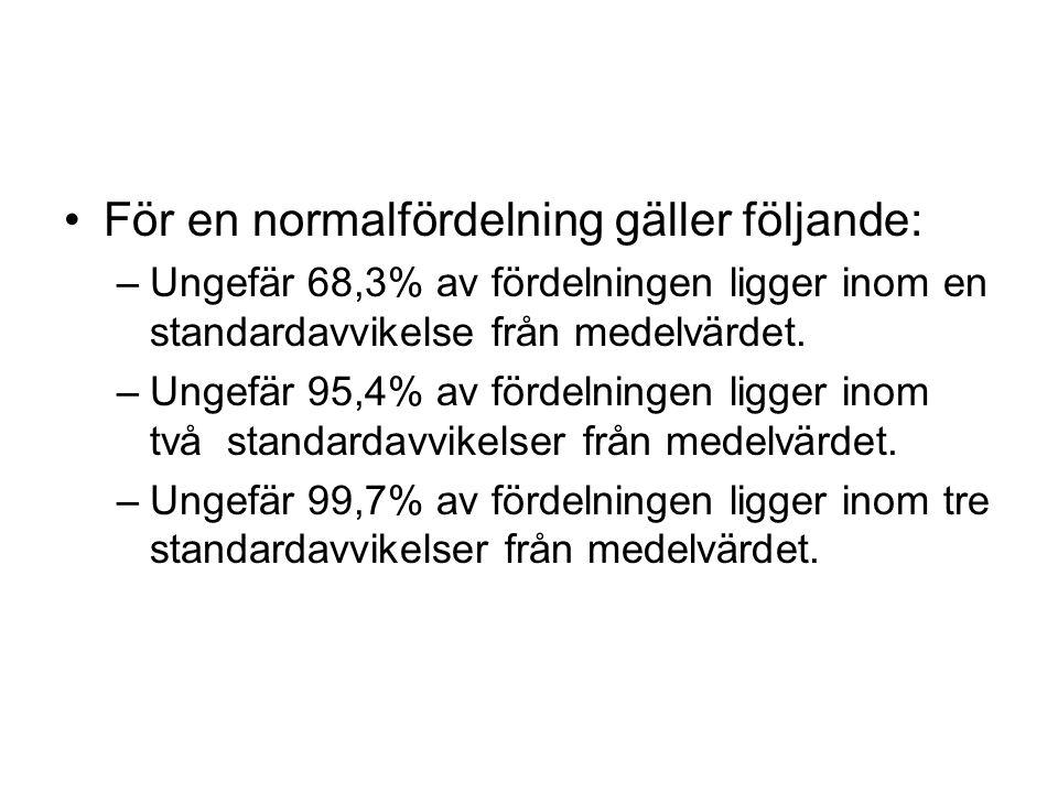 För en normalfördelning gäller följande: –Ungefär 68,3% av fördelningen ligger inom en standardavvikelse från medelvärdet. –Ungefär 95,4% av fördelnin