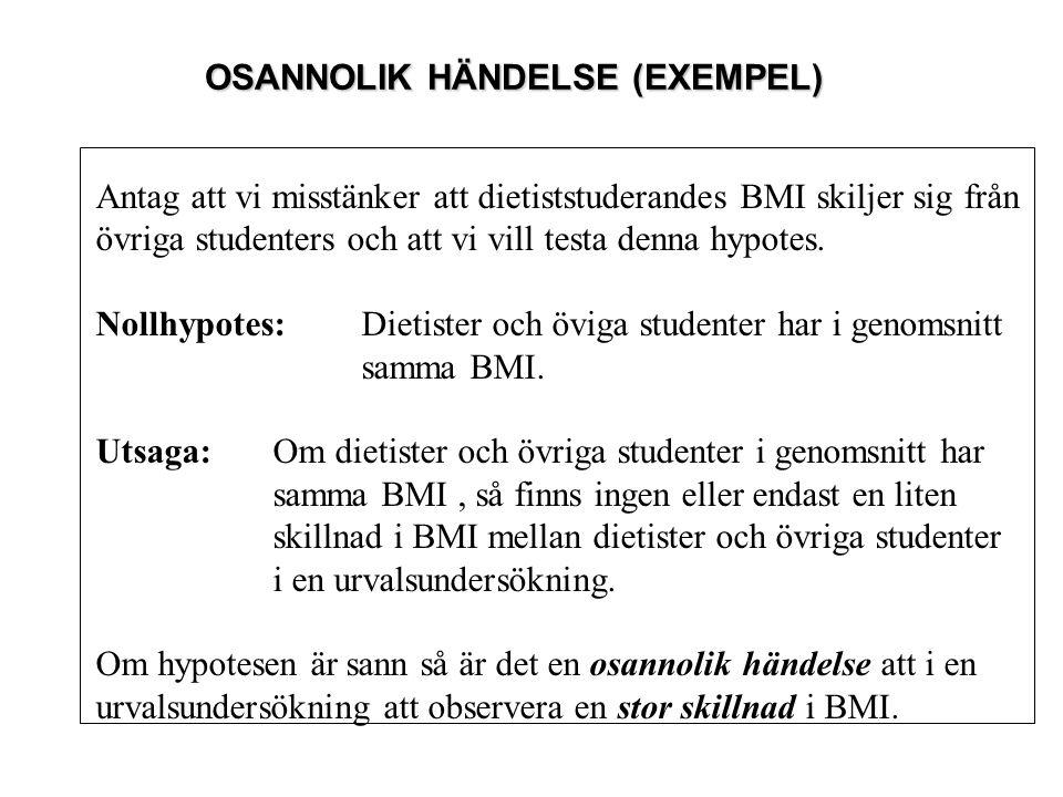 OSANNOLIK HÄNDELSE (EXEMPEL) Antag att vi misstänker att dietiststuderandes BMI skiljer sig från övriga studenters och att vi vill testa denna hypotes
