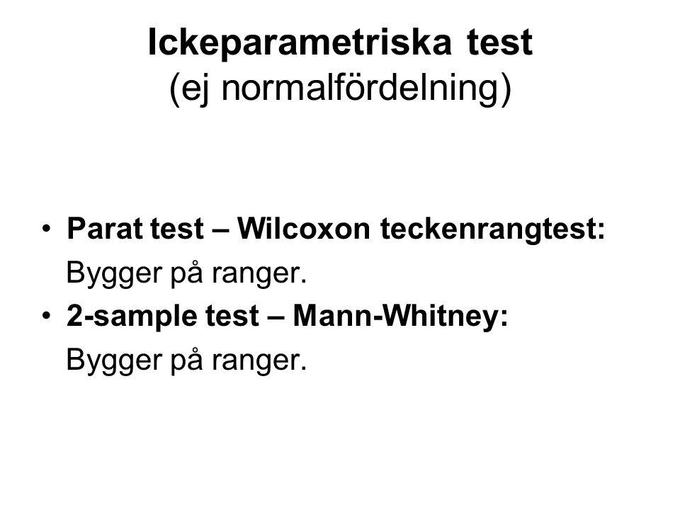 Ickeparametriska test (ej normalfördelning) Parat test – Wilcoxon teckenrangtest: Bygger på ranger. 2-sample test – Mann-Whitney: Bygger på ranger.