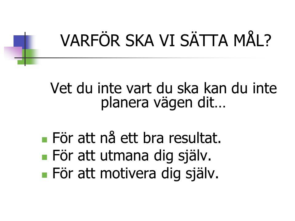 VARFÖR SKA VI SÄTTA MÅL.
