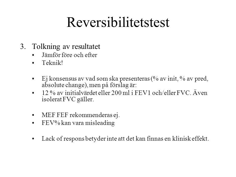 Reversibilitetstest 3.Tolkning av resultatet Jämför före och efter Teknik! Ej konsensus av vad som ska presenteras (% av init, % av pred, absolute cha