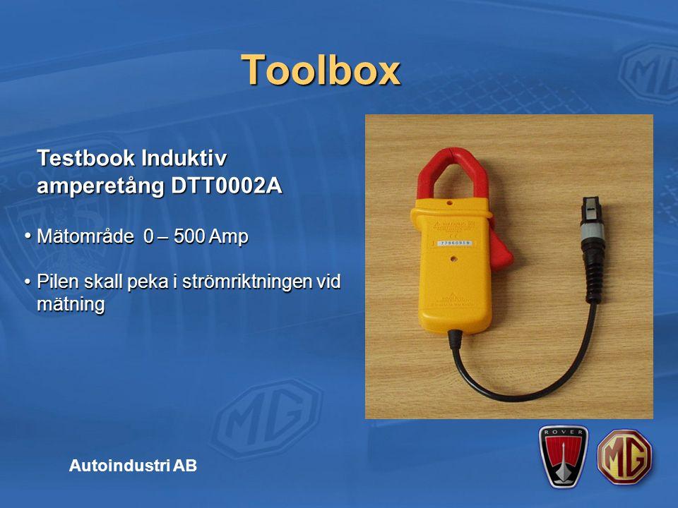Toolbox Testbook Induktiv amperetång DTT0002A Testbook Induktiv amperetång DTT0002A Mätområde 0 – 500 AmpMätområde 0 – 500 Amp Pilen skall peka i strömriktningen vid mätningPilen skall peka i strömriktningen vid mätning