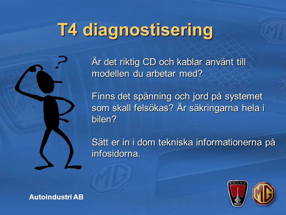 T4 diagnostisering Autoindustri AB Är det riktig CD och kablar använt till modellen du arbetar med.