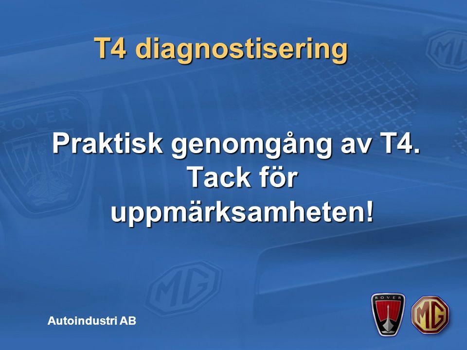 T4 diagnostisering Autoindustri AB Praktisk genomgång av T4. Tack för uppmärksamheten!