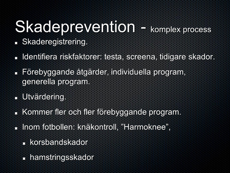 Skadeprevention - komplex process Skaderegistrering. Identifiera riskfaktorer: testa, screena, tidigare skador. Förebyggande åtgärder, individuella pr