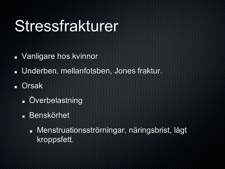 Stressfrakturer Vanligare hos kvinnor Underben, mellanfotsben, Jones fraktur.