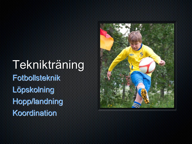 Teknikträning FotbollsteknikLöpskolningHopp/landningKoordination