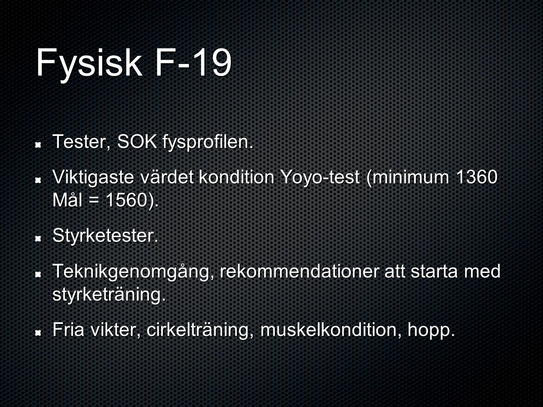 Fysisk F-19 Tester, SOK fysprofilen. Viktigaste värdet kondition Yoyo-test (minimum 1360 Mål = 1560). Styrketester. Teknikgenomgång, rekommendationer