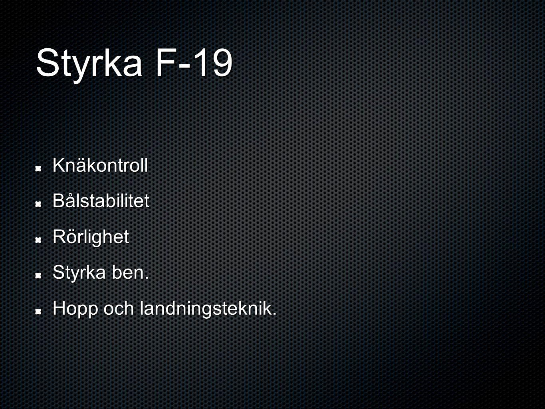 Styrka F-19 Fria vikter Skivstångsteknik Explosiva övn.