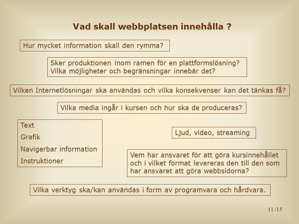 11 Vad skall webbplatsen innehålla ? Hur mycket information skall den rymma? Vem har ansvaret för att göra kursinnehållet och i vilket format leverera