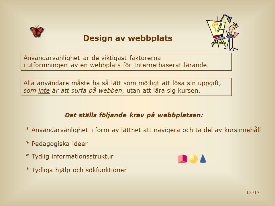 12 Design av webbplats Användarvänlighet är de viktigast faktorerna i utformningen av en webbplats för Internetbaserat lärande. * Tydliga hjälp och sö