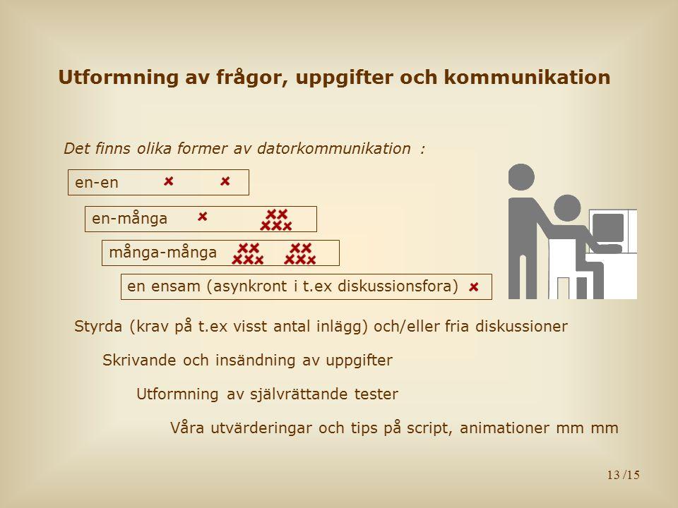 13 Utformning av frågor, uppgifter och kommunikation Det finns olika former av datorkommunikation : Våra utvärderingar och tips på script, animationer