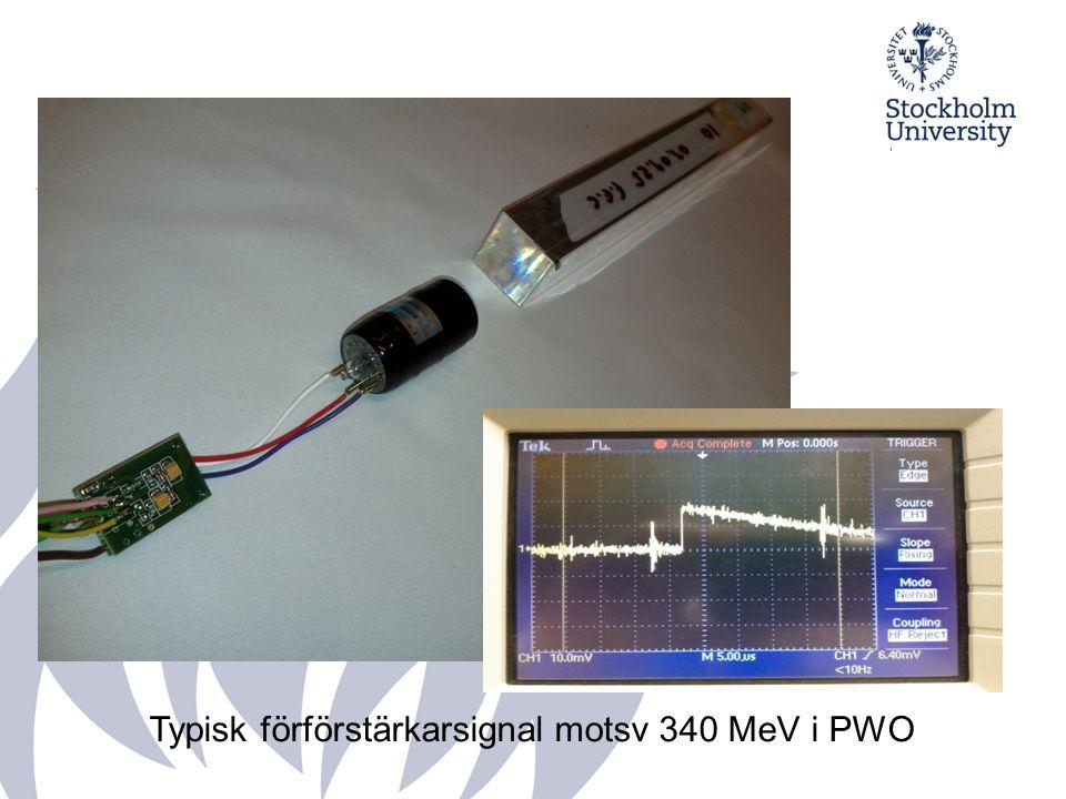 Typisk förförstärkarsignal motsv 340 MeV i PWO