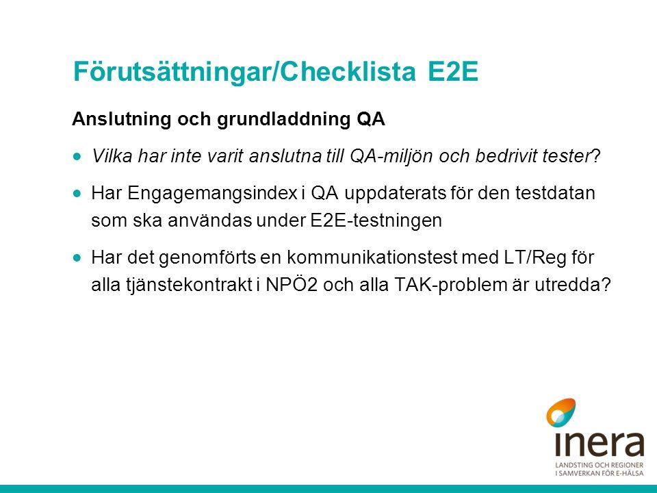 Förutsättningar/Checklista E2E Anslutning och grundladdning QA  Vilka har inte varit anslutna till QA-miljön och bedrivit tester.
