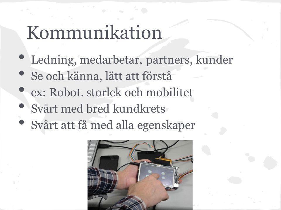 Kommunikation Ledning, medarbetar, partners, kunder Se och känna, lätt att förstå ex: Robot.