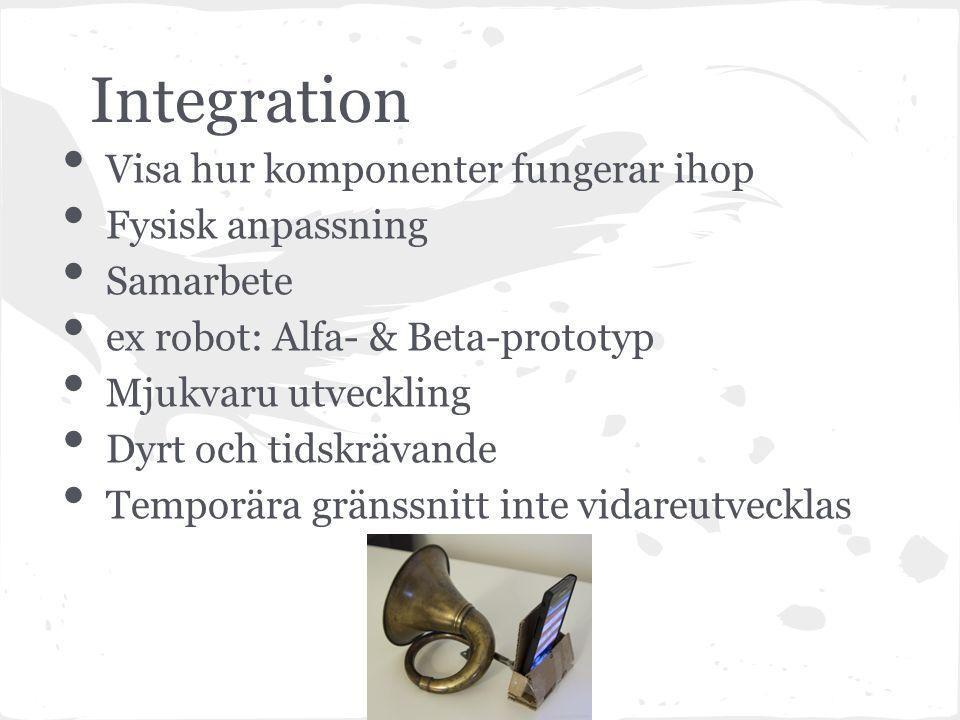 Integration Visa hur komponenter fungerar ihop Fysisk anpassning Samarbete ex robot: Alfa- & Beta-prototyp Mjukvaru utveckling Dyrt och tidskrävande Temporära gränssnitt inte vidareutvecklas