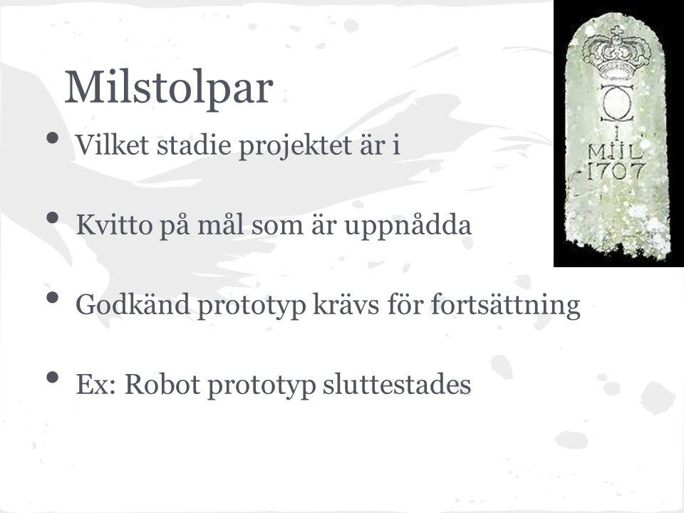 Milstolpar Vilket stadie projektet är i Kvitto på mål som är uppnådda Godkänd prototyp krävs för fortsättning Ex: Robot prototyp sluttestades