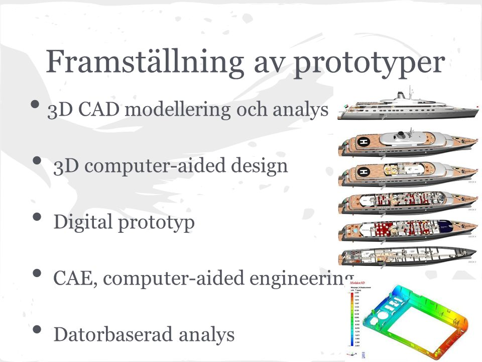 Framställning av prototyper 3D CAD modellering och analys 3D computer-aided design Digital prototyp CAE, computer-aided engineering Datorbaserad analys