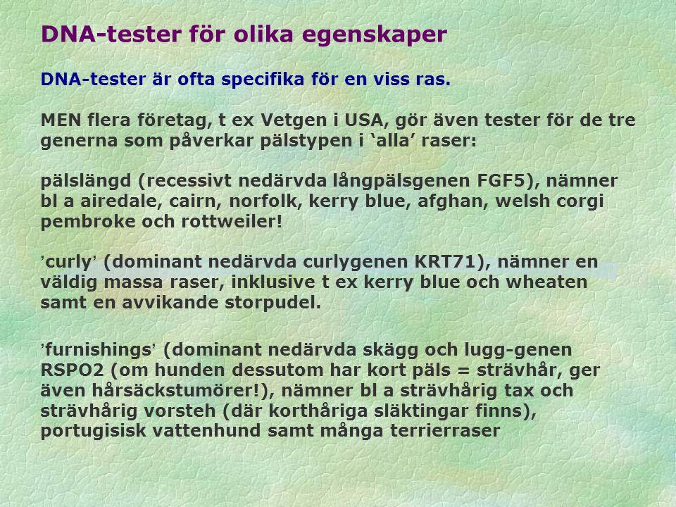 DNA-tester för olika egenskaper DNA-tester är ofta specifika för en viss ras. MEN flera företag, t ex Vetgen i USA, gör även tester för de tre generna
