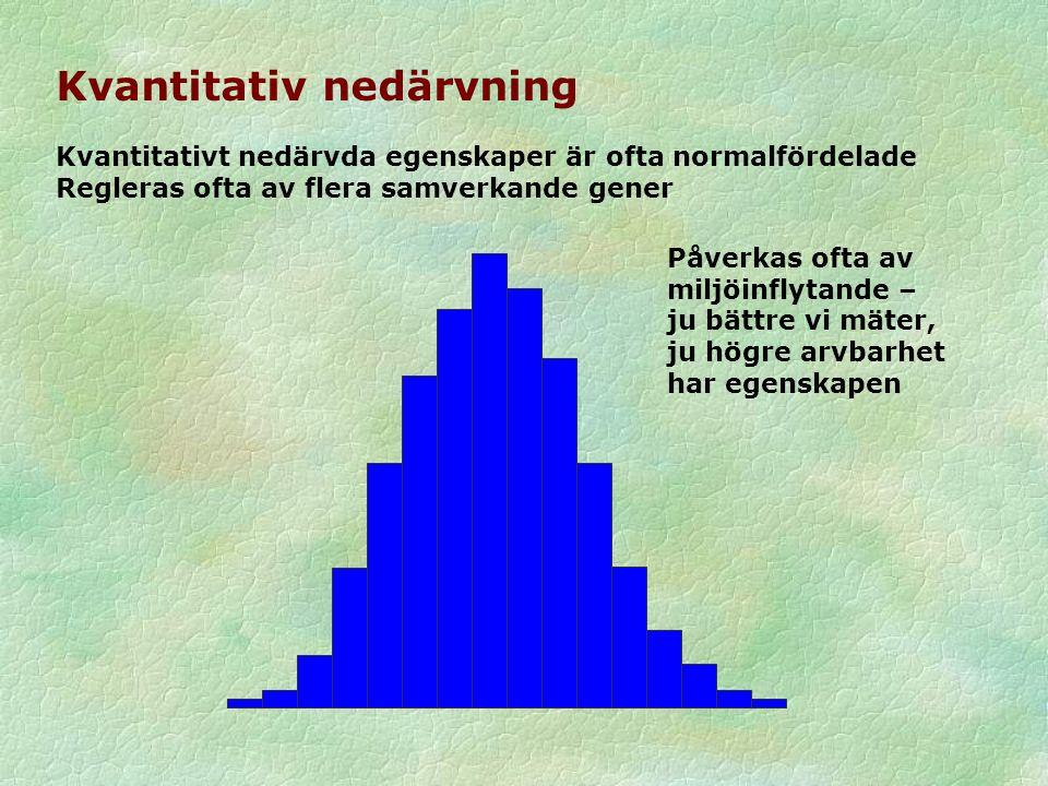 Kvantitativ nedärvning Kvantitativt nedärvda egenskaper är ofta normalfördelade Regleras ofta av flera samverkande gener Påverkas ofta av miljöinflytande – ju bättre vi mäter, ju högre arvbarhet har egenskapen