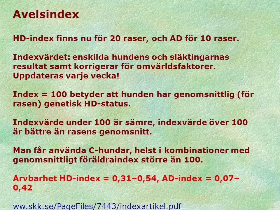 Avelsindex HD-index finns nu för 20 raser, och AD för 10 raser. Indexvärdet: enskilda hundens och släktingarnas resultat samt korrigerar för omvärldsf