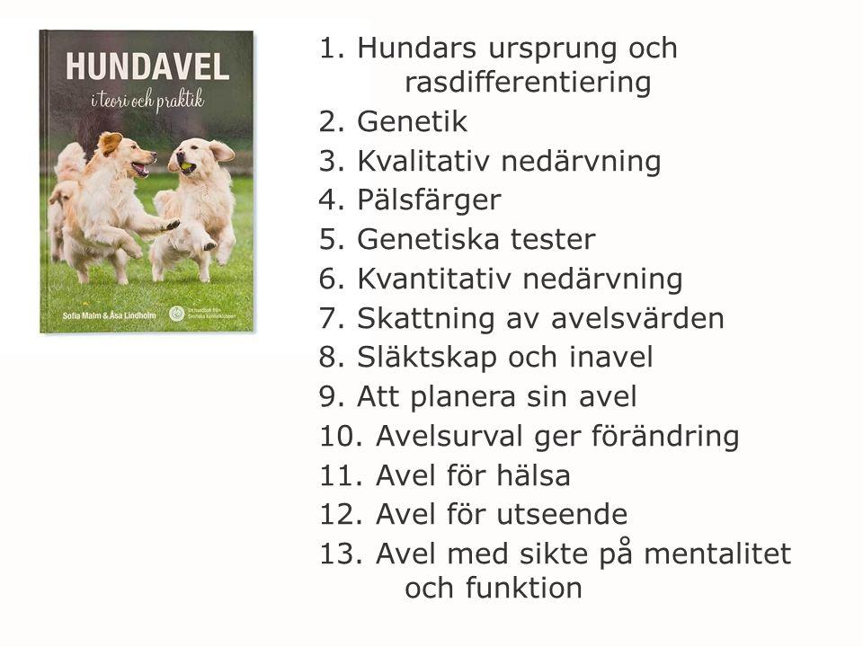 1. Hundars ursprung och rasdifferentiering 2. Genetik 3. Kvalitativ nedärvning 4. Pälsfärger 5. Genetiska tester 6. Kvantitativ nedärvning 7. Skattnin