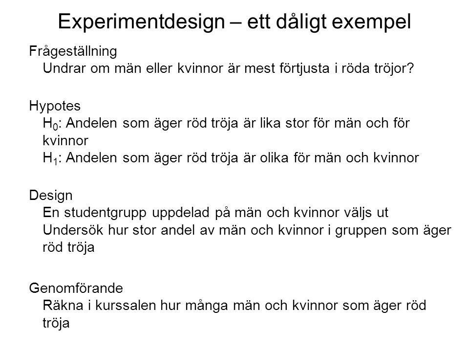 Experimentdesign – ett dåligt exempel Frågeställning Undrar om män eller kvinnor är mest förtjusta i röda tröjor.