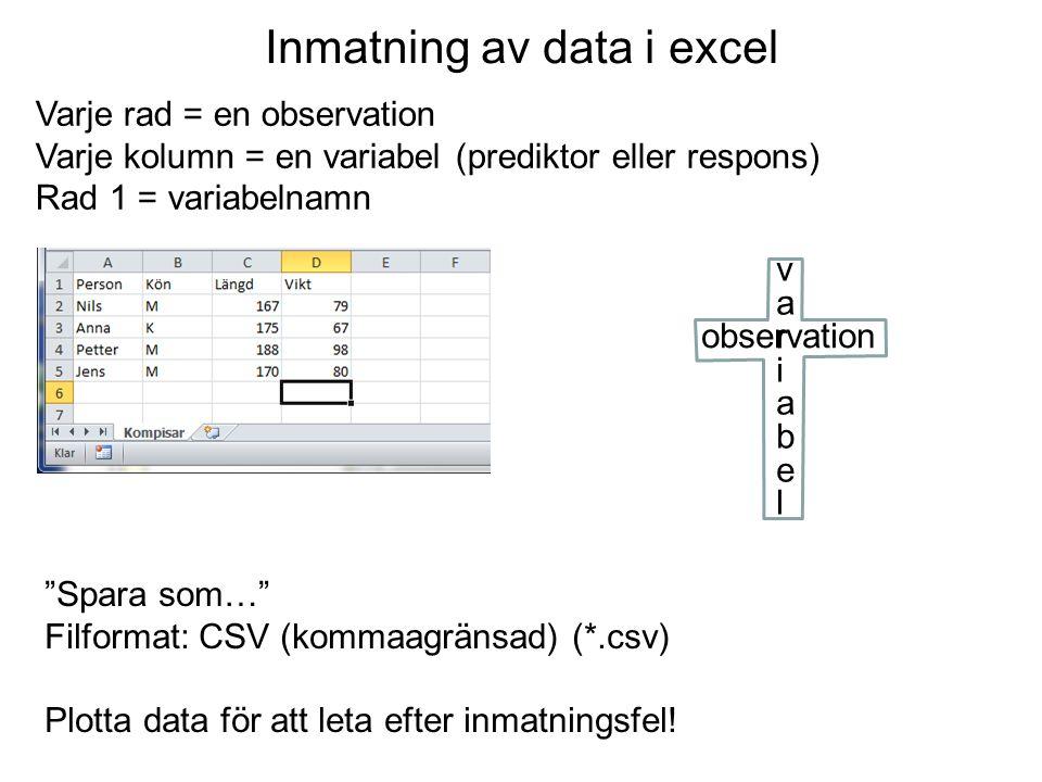Inmatning av data i excel Varje rad = en observation Varje kolumn = en variabel (prediktor eller respons) Rad 1 = variabelnamn Spara som… Filformat: CSV (kommaagränsad) (*.csv) Plotta data för att leta efter inmatningsfel.
