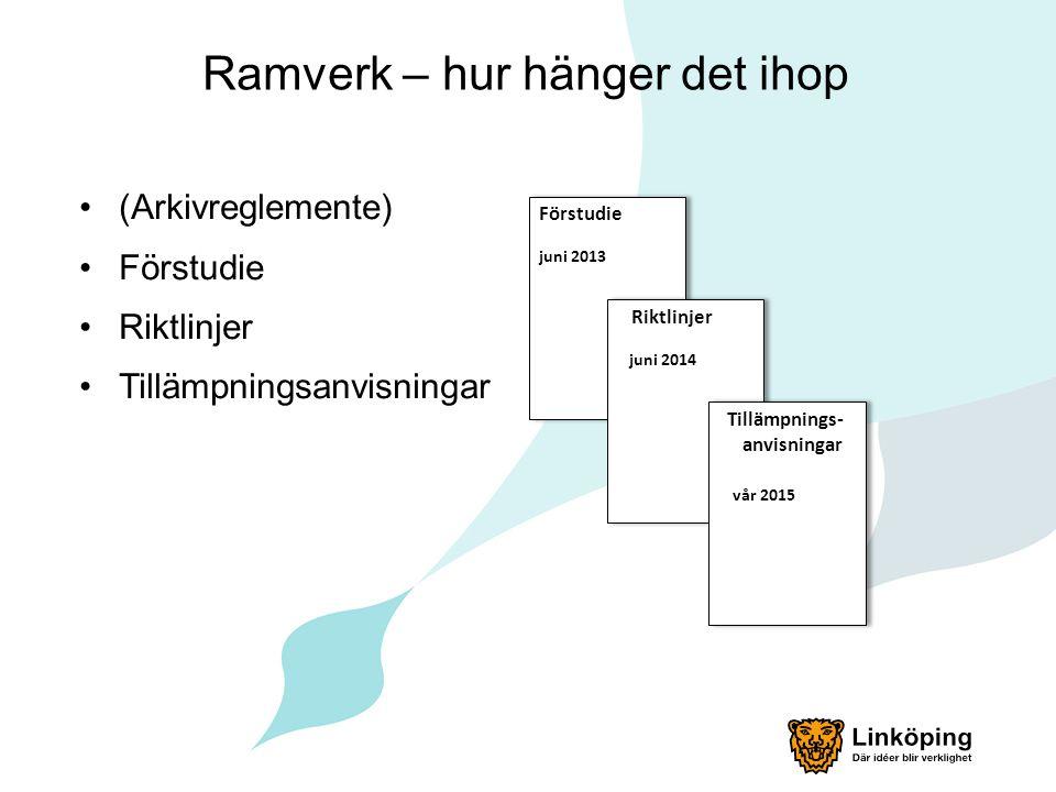 Ramverk – hur hänger det ihop (Arkivreglemente) Förstudie Riktlinjer Tillämpningsanvisningar Förstudie juni 2013 Förstudie juni 2013 Riktlinjer juni 2