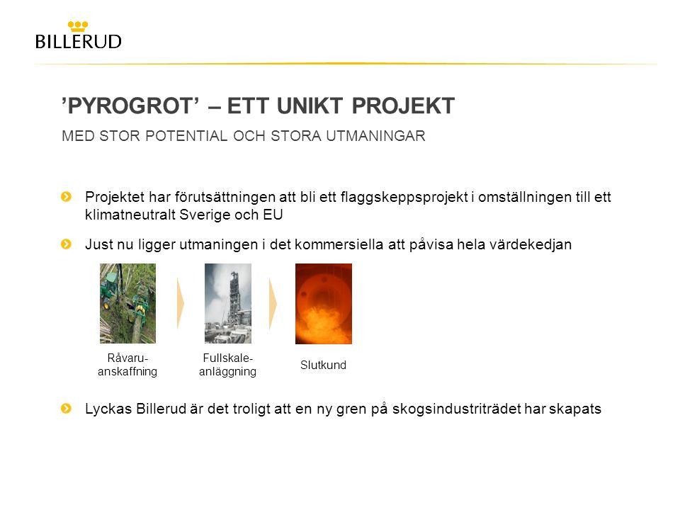 'PYROGROT' – ETT UNIKT PROJEKT MED STOR POTENTIAL OCH STORA UTMANINGAR Projektet har förutsättningen att bli ett flaggskeppsprojekt i omställningen ti