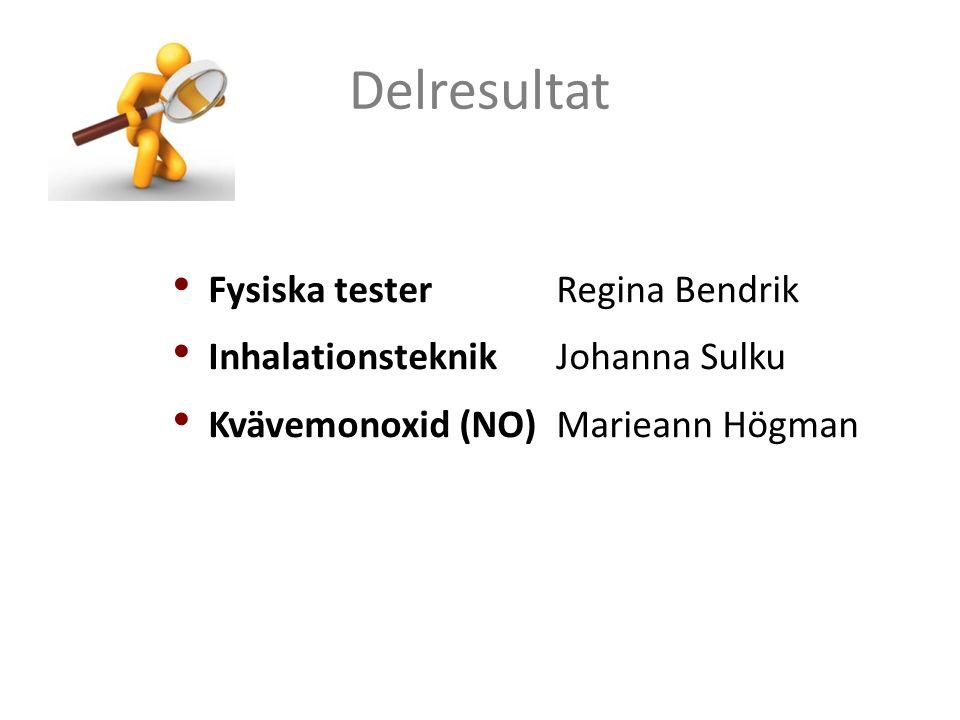 Delresultat Fysiska testerRegina Bendrik InhalationsteknikJohanna Sulku Kvävemonoxid (NO) Marieann Högman
