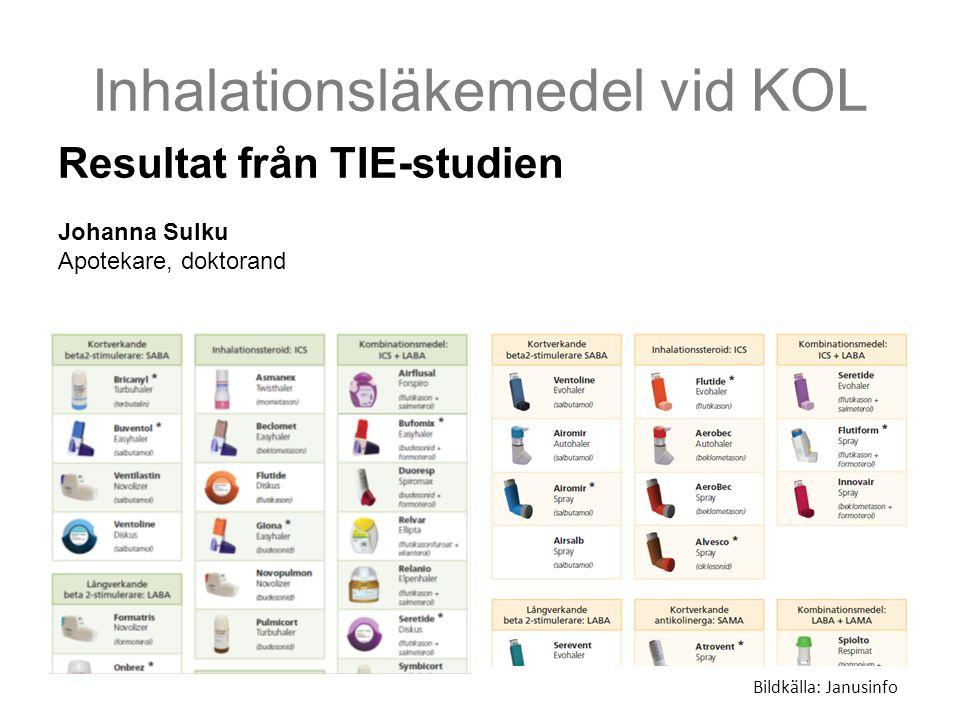 Inhalationsläkemedel vid KOL Bildkälla: Janusinfo Resultat från TIE-studien Johanna Sulku Apotekare, doktorand