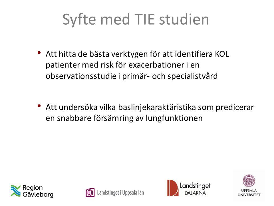 Syfte med TIE studien Att hitta de bästa verktygen för att identifiera KOL patienter med risk för exacerbationer i en observationsstudie i primär- och