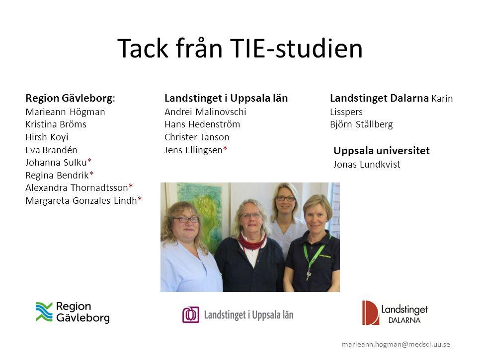 Tack från TIE-studien Region Gävleborg: Marieann Högman Kristina Bröms Hirsh Koyi Eva Brandén Johanna Sulku* Regina Bendrik* Alexandra Thornadtsson* M