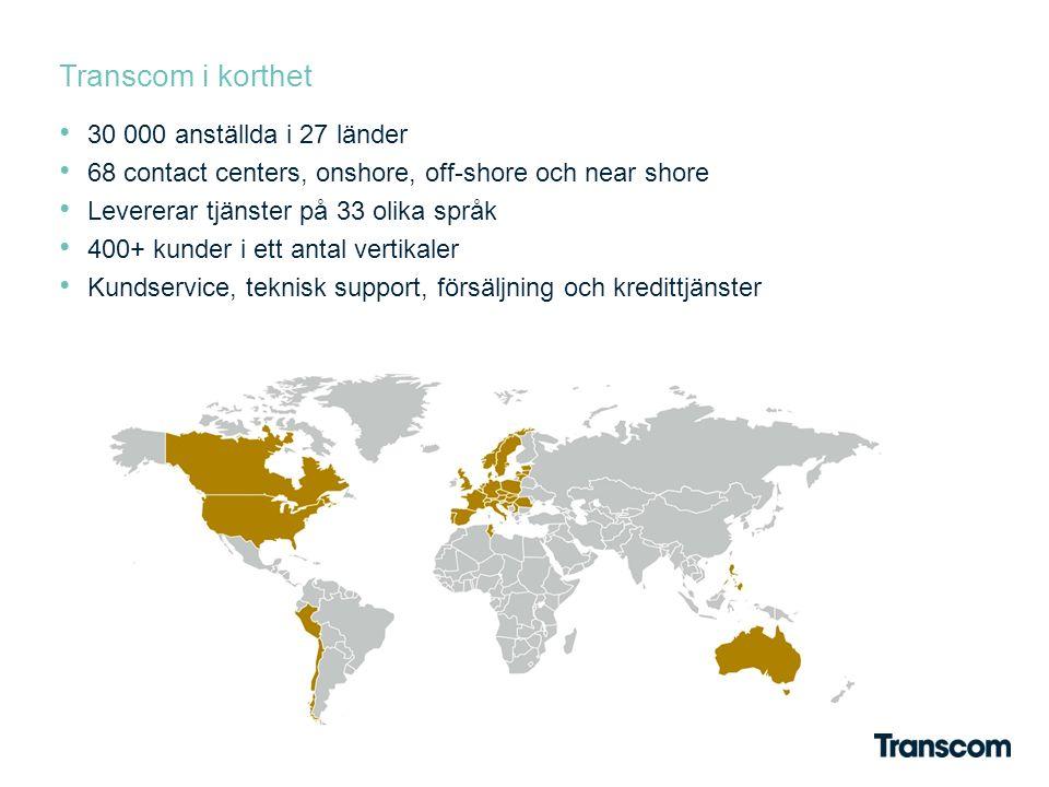Transcom i korthet 30 000 anställda i 27 länder 68 contact centers, onshore, off-shore och near shore Levererar tjänster på 33 olika språk 400+ kunder i ett antal vertikaler Kundservice, teknisk support, försäljning och kredittjänster