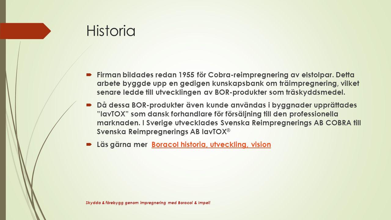 Historia  Firman bildades redan 1955 för Cobra-reimpregnering av elstolpar.