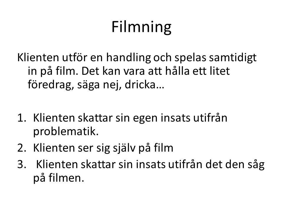 Filmning Klienten utför en handling och spelas samtidigt in på film. Det kan vara att hålla ett litet föredrag, säga nej, dricka… 1.Klienten skattar s