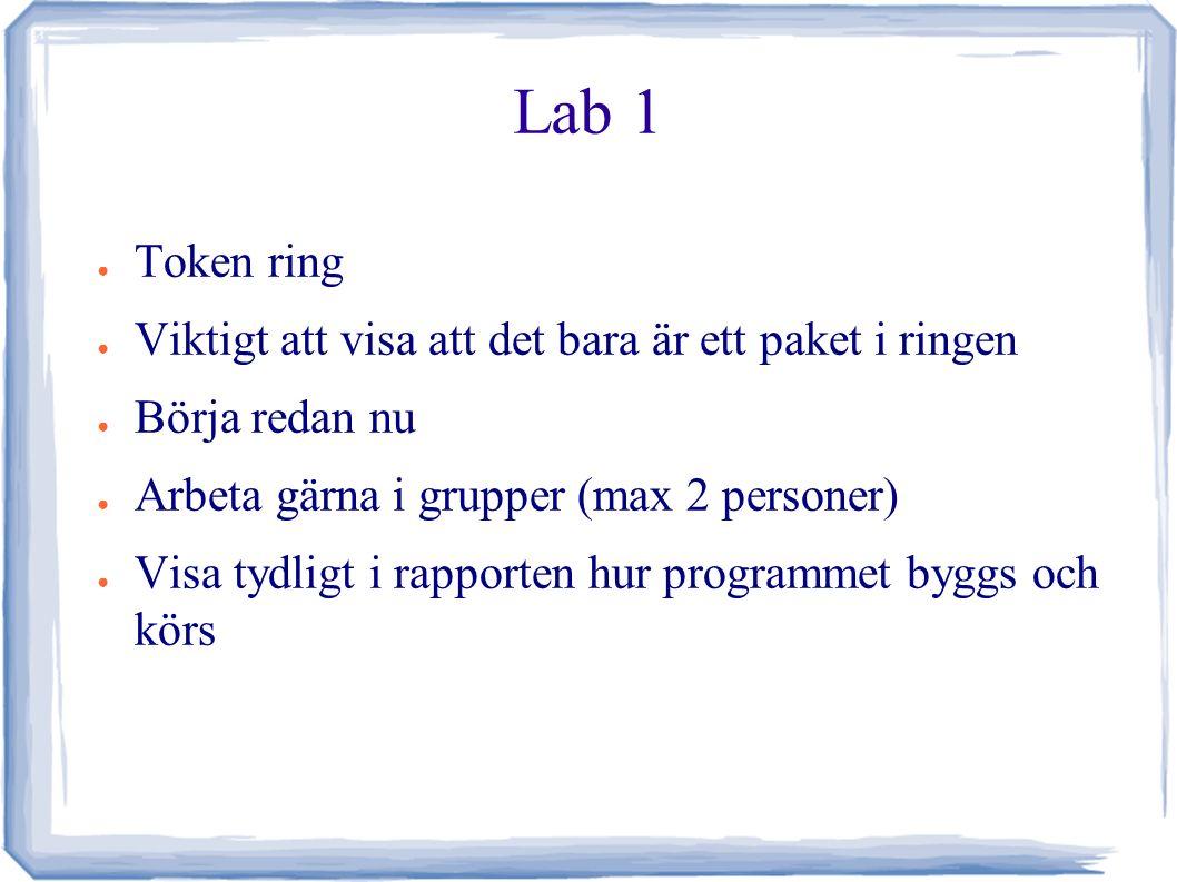 Lab 1 ● Token ring ● Viktigt att visa att det bara är ett paket i ringen ● Börja redan nu ● Arbeta gärna i grupper (max 2 personer) ● Visa tydligt i rapporten hur programmet byggs och körs